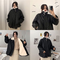 Black locomotive pu leather jacket female 2018 new winter Korean version of the loose student thick fur collar cotton jacket