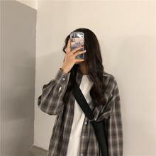 宽松原宿风薄外套2019春季新款 百搭学生长袖 衬衣潮 格子衬衫 女韩版图片