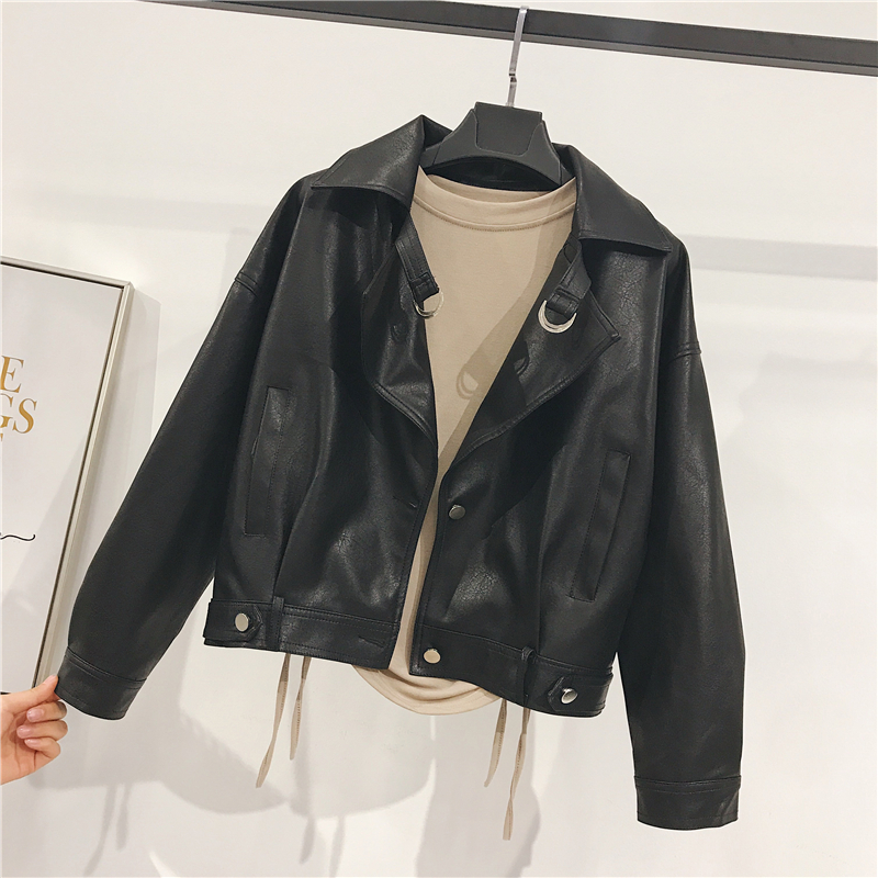 Motorcycle leather female 2018 new autumn new loose thin wild lapel long