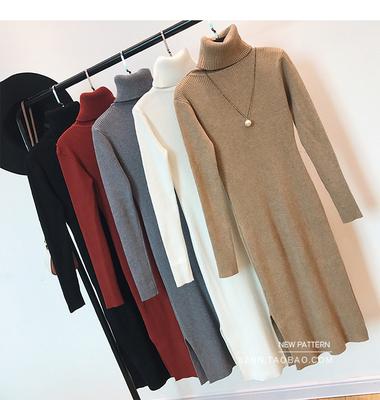 高领针织裙女冬装新款修身显瘦套头连衣裙开叉打底毛衣长裙中长款