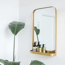 NASO那所 欧式现代简约壁挂镜子卧室穿衣镜 卫生间浴室镜带置物架