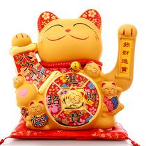 吉猫堂招财猫摆件开业店铺开业礼品金色陶瓷招财摆件电动摇手猫