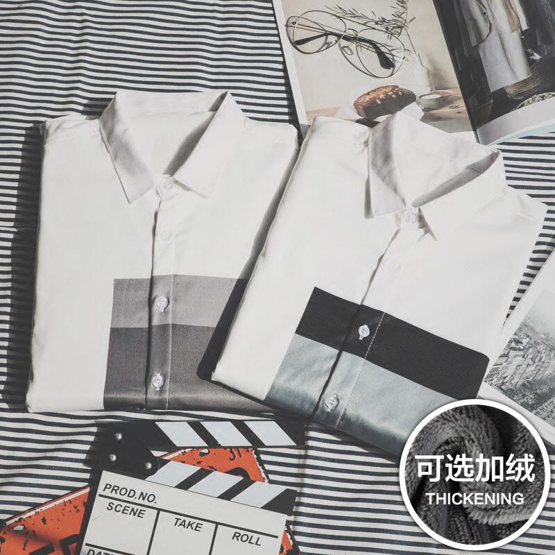 潮流帅气 寸衫 男长袖 秋冬季保暖加绒加厚衬衣青年修身 韩版 男士 衬衫