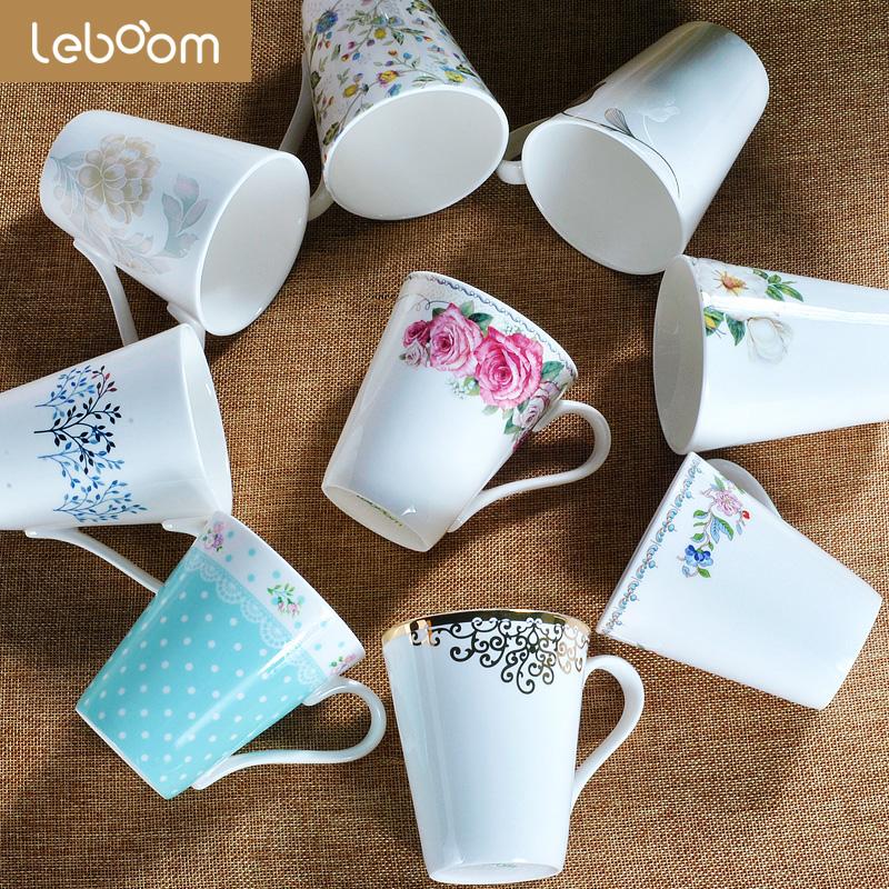 杯子陶瓷无盖马克杯带勺家用创意简约成人喝水杯文艺咖啡杯礼盒装