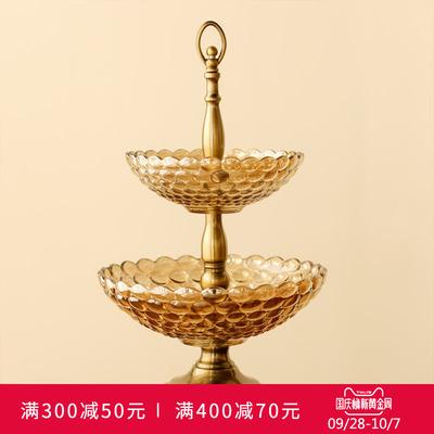 美式创意双层金属玻璃水果盘家用欧式客厅茶几餐桌果盘样板房摆件