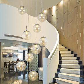 别墅大吊灯复式旋转楼中楼客厅灯具餐厅玻璃水晶圆球形楼梯长吊灯
