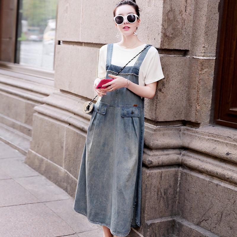 牛仔背带裙女夏2019新款韩版中长款连衣裙减龄显瘦洋气吊带长裙子