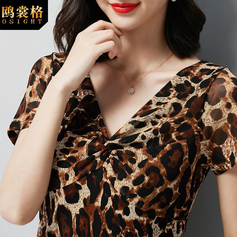 网纱上衣女2019夏季新款韩版中年女妈妈装气质V领时尚豹纹短袖T恤