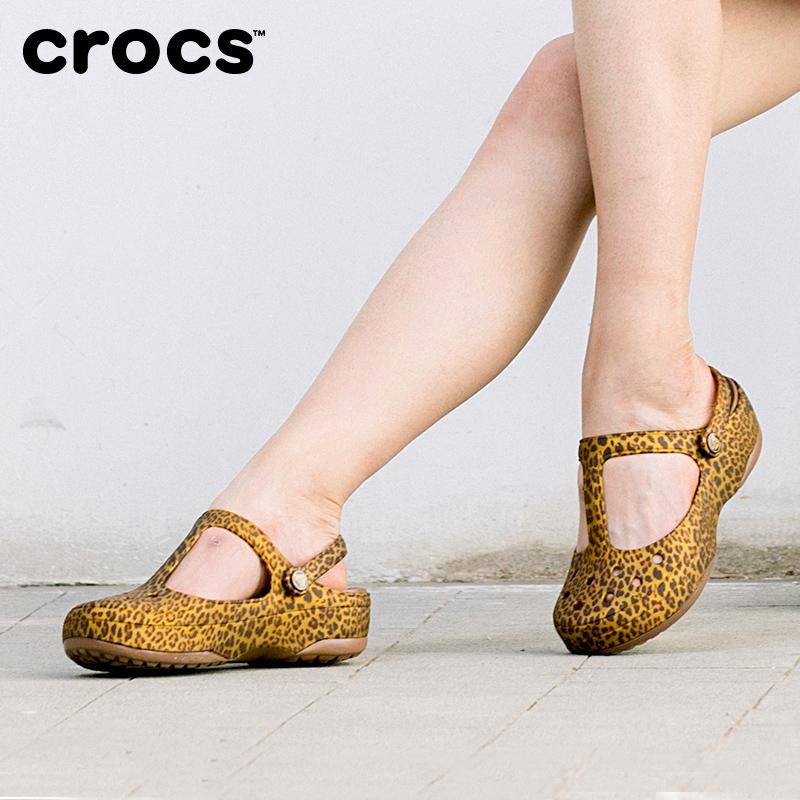 豹纹凉鞋洞洞鞋