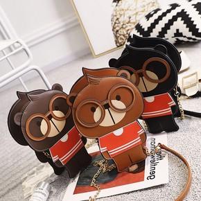 儿童韩版时尚小熊单肩包男女童卡通个性链条斜挎包潮萌小包零食包