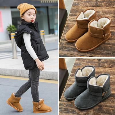 冬季男女童棉鞋短筒靴防滑保暖儿童雪地靴 宝宝冬鞋软底加绒童鞋