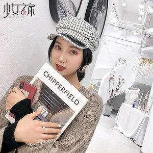 少女之家冬季帽子女韩版百搭秋冬贝雷帽复古蓓蕾帽文艺甜美画家帽