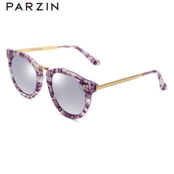 新款复古板材太阳眼镜女 情侣大框炫彩膜潮墨镜偏光镜9658 紫碎花