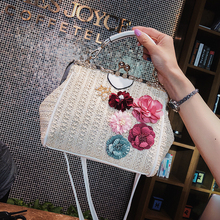 Korean version new handbag lady bag stereo flower pearl braided single shoulder bag jacket bag oblique Bag