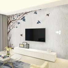 电视背景墙壁纸北欧简约现代客厅卧室墙纸8d花鸟装饰壁画影视墙布