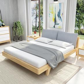 北欧风格全实木软床简约现代橡木主次卧室家具1.5米1.8米单双人床