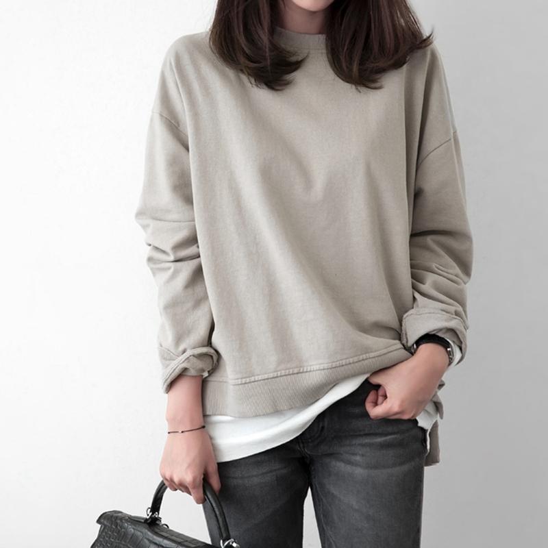T122韩国女装代2018新品简约宽松毛圈棉开叉圆领套头春款长袖卫衣