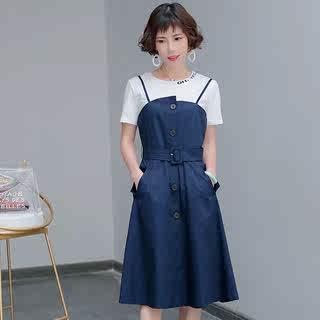 2018女装连衣裙 夏季新款韩版气质减龄两件套 显瘦款收腰背带裙