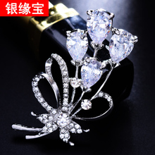 Fashion wild lady shawl buckle butterfly peacock brooch big pin synthetic crystal brooch silk scarf buckle with accessories