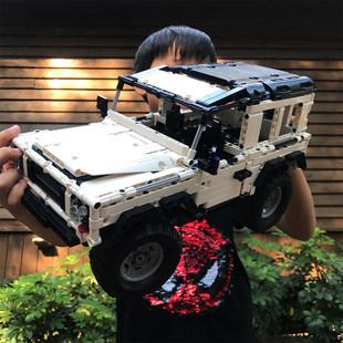 兼容乐高儿童超大号遥控越野车高速攀爬赛车充电积木拼装玩具男孩