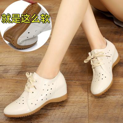 内增高小白鞋女2018新款女鞋夏季透气韩版百搭坡跟真皮鞋软皮单鞋