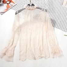 毛衣内搭女秋季新款镂空薄款钩花长袖内搭网纱上衣立领蕾丝打底衫图片