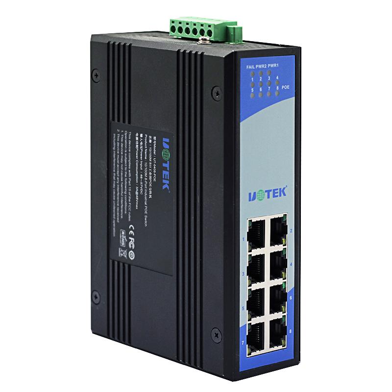 宇泰UT-6408-POE工业以太网交换机8口百兆POE交换机工业级防雷非网管型防雷交换机百兆导轨式以太网络交换机