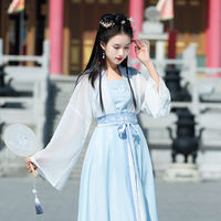 Spring and summer new product improvement Wei Jin Chinese style Hanfu fluorescent blue and white embroidery slings cross skirt three-piece suit