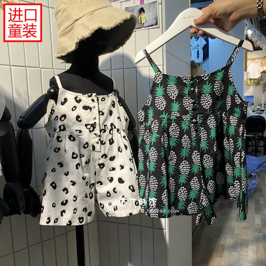 韩国进口童装女童卡通连体裤2018夏季新款宽松K576背带阔腿短裤