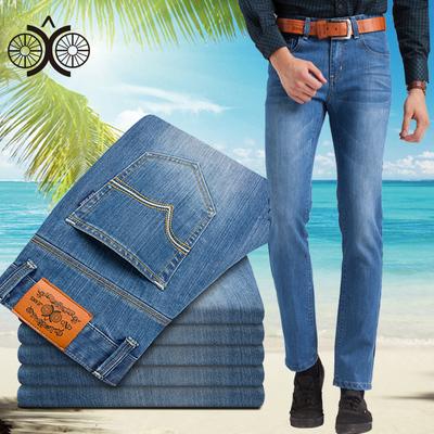 OXO2018四季薄舒适长裤中腰大码直筒牛仔裤男中年商务男装nzk