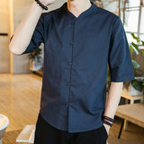 Summer thin men's cotton and linen short-sleeved tang suit Chinese style retro v-neck loose large size linen hanfu shirt