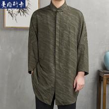 夏季男士薄款棉麻中长款唐装中国风立领九分袖亚麻汉服蝙蝠袖衬衫