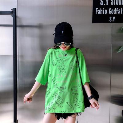 2018夏季新款个性涂鸦印花T恤女学生韩版宽松显瘦打底短袖上衣潮