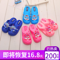 Childrens Slippers Summer cold drag parent Soft bottom anti-skid child male and female baby bathroom home cute Baotou shoes