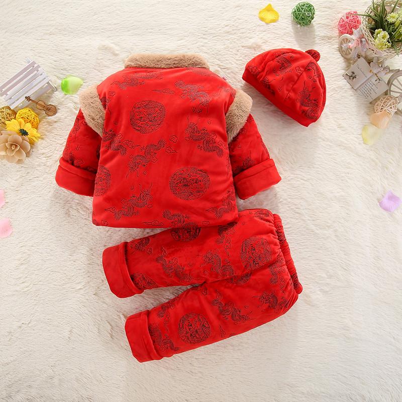 冬季宝宝衣服帽子三件套装婴儿保暖棉裤小童大红色棉衣唐装满月服