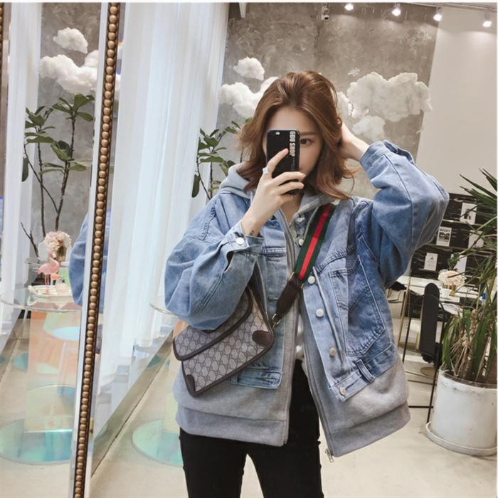 2019春季新款韩版连帽加绒假两件牛仔短款外套女学生原宿宽松上衣图片
