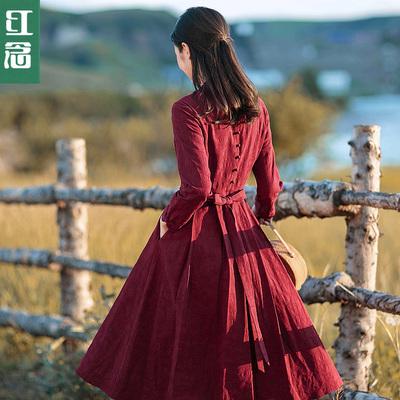 红念红色棉麻改良旗袍连衣裙长袖秋装女2018新款中长款修身长裙子