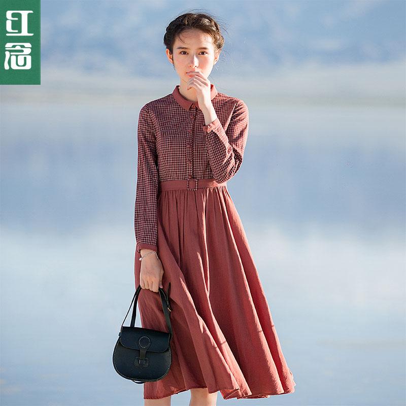 格子文艺长裙