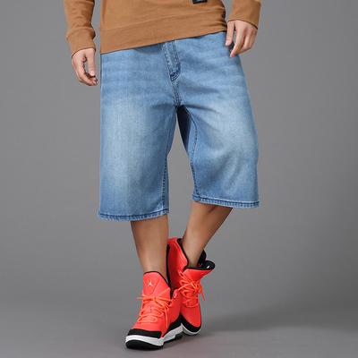 夏季薄款牛仔短裤男宽松嘻哈中裤直筒马裤胖子加肥加大码七分裤男