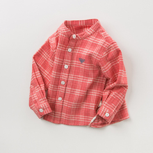Dave Bella David Bella autumn dress new boy and girl wear baby cotton red checked Long Sleeve Shirt