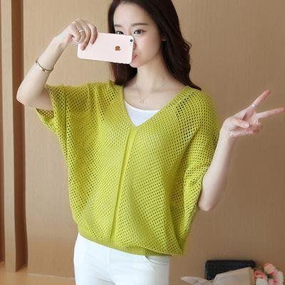 夏季新款短袖上衣韩版针织罩衫薄款宽松镂空百搭套头蝙蝠袖女T恤