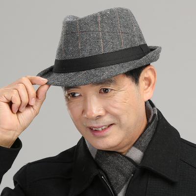 KUFEI 中老年爸爸秋季帽子 中年男款礼帽 男 秋冬男士休闲爵士帽