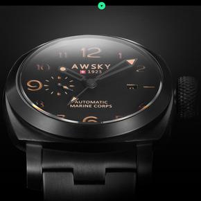 钛合金GMT大表盘军表特种男士手表机械表钢带全自动防水夜光户外