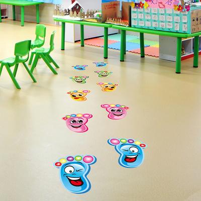 幼儿园小脚丫儿童房装饰楼梯走廊台阶地板墙贴地贴纸卡通防水贴画