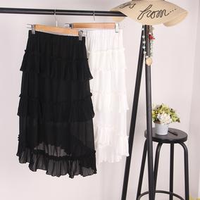 韩国荷叶边雪纺蛋糕券半身裙女夏季中长款前短后长高腰A字百褶裙