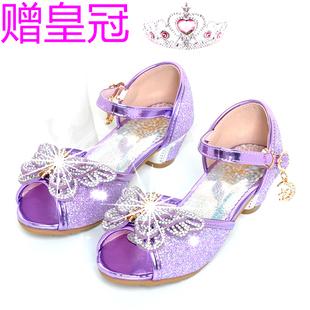 水晶4女孩5高跟6小孩子7公主8的紫色儿童送皇冠9岁小学生凉鞋蝴蝶