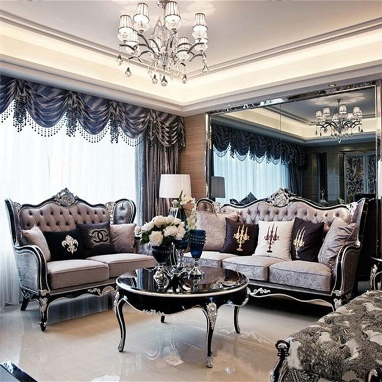 欧式沙发黑色描银