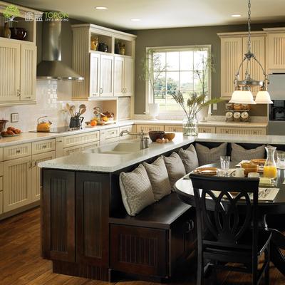 途蓝 全实木整体橱柜定制美式田园地中海厨房白色厨柜 石英石台面