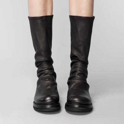 圆头平底靴子黑色鞋子女2018秋冬新款网红短靴女过膝长筒靴瘦瘦靴