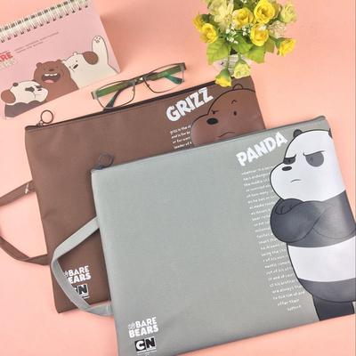 韩国小清新裸熊帆布a4文件袋拉链 时尚学生手提大容量试卷资料袋